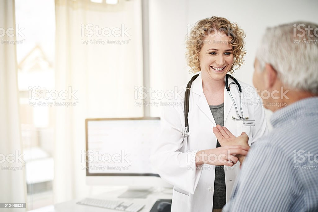 You're as healthy as can be! stock photo