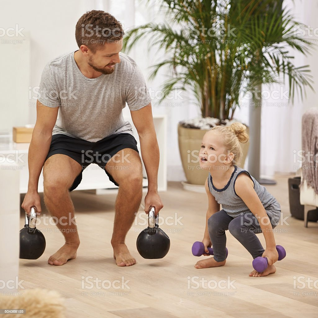 You're getting so strong! stock photo