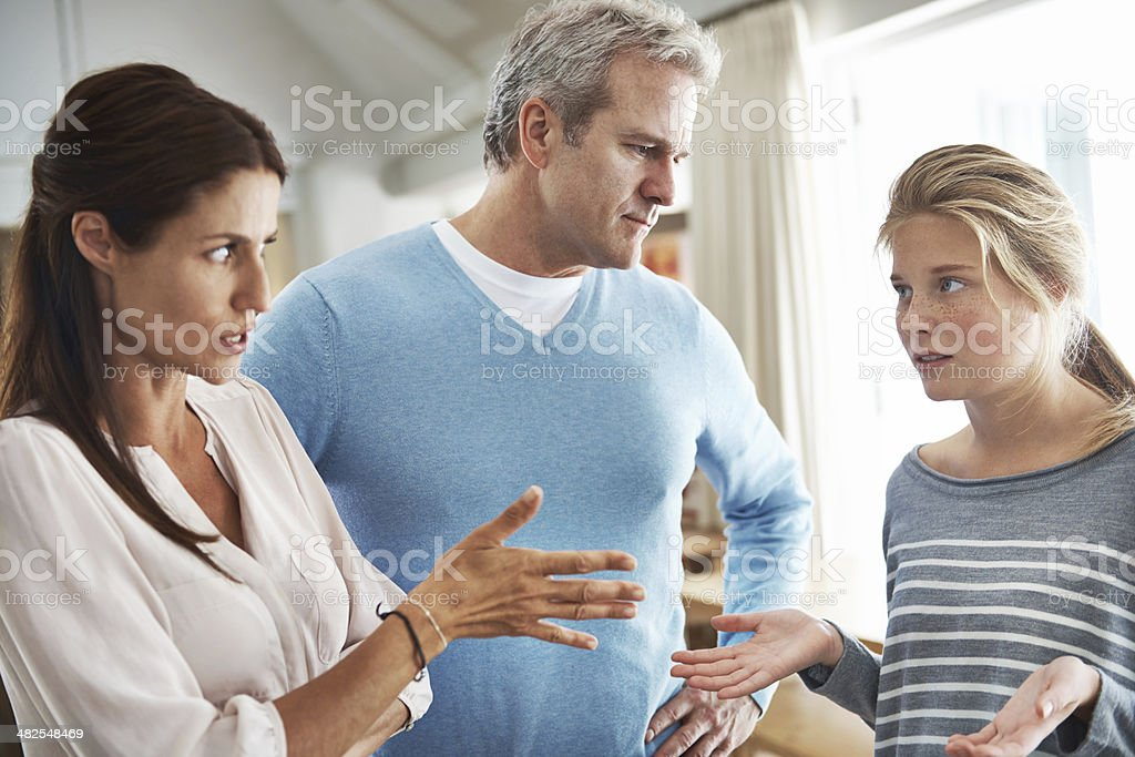 You're grounded, young lady! stock photo