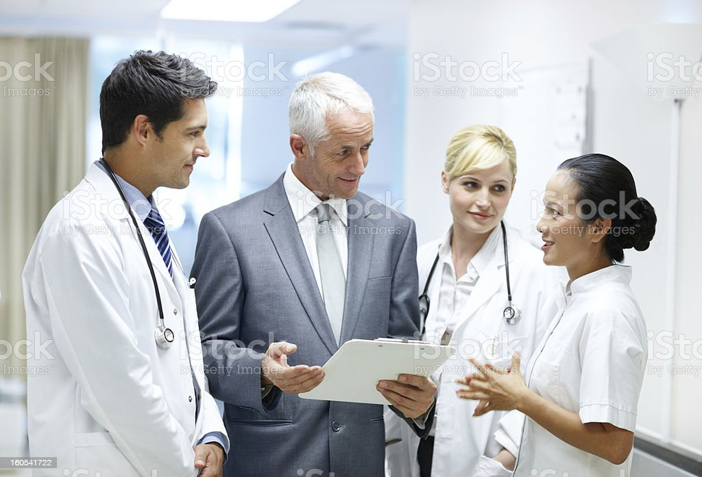 You're in good hands with his medical team stock photo