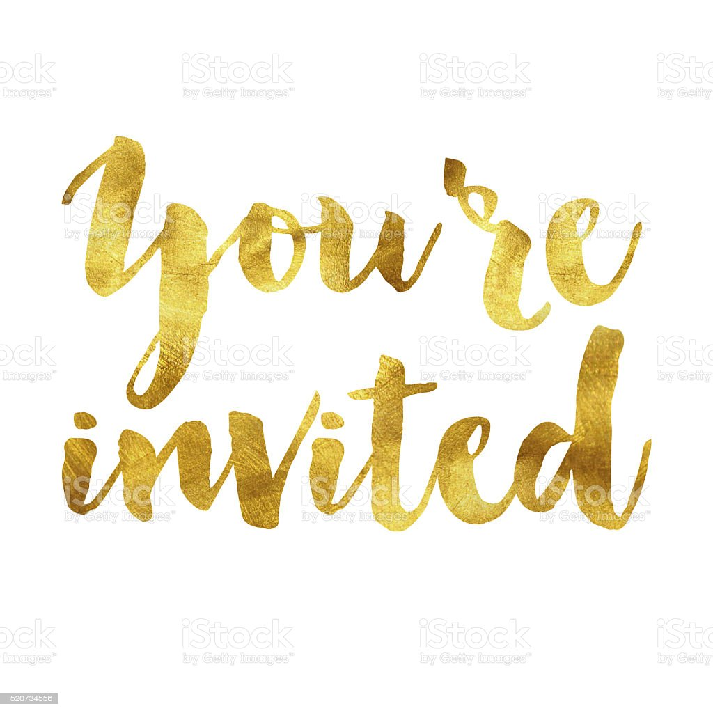 Your'e invited gold foil message stock photo