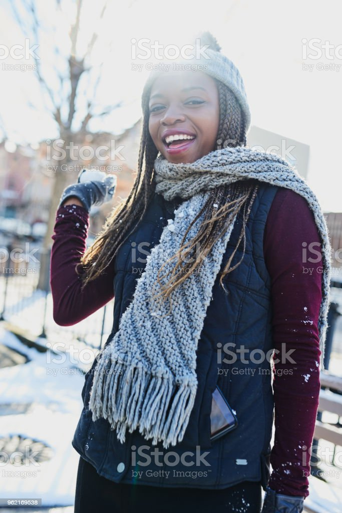 You're looking at the snowball fighting champ here stock photo