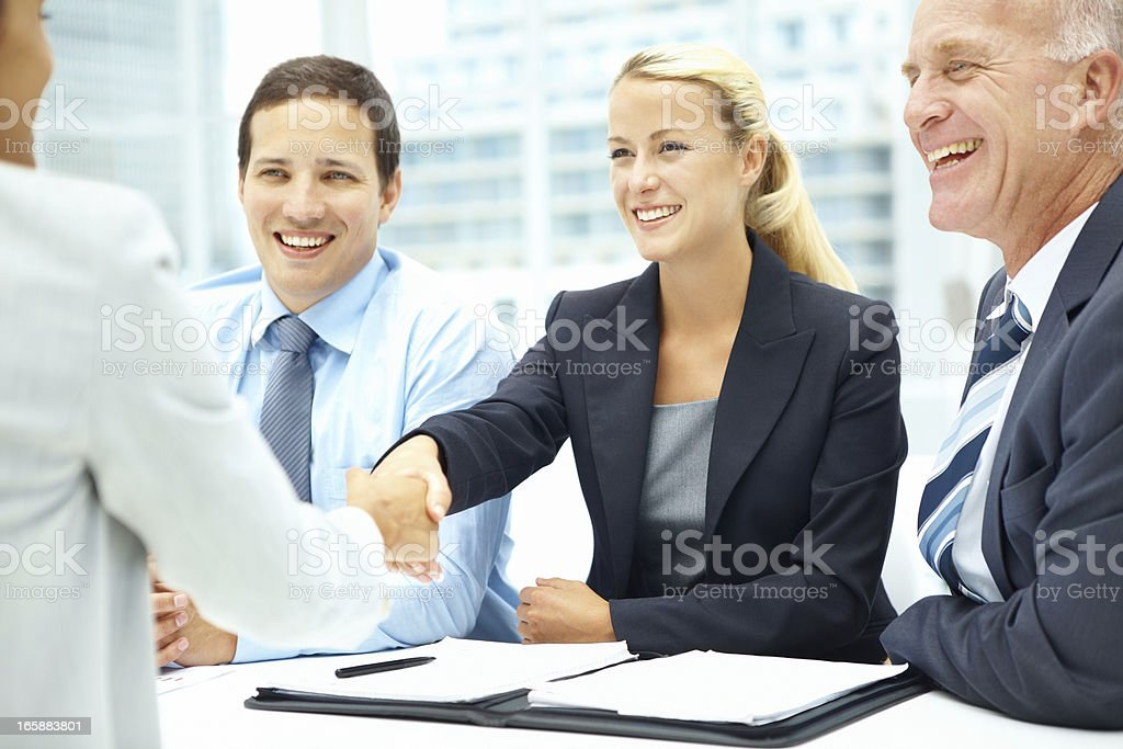 You're the woman for our company, congrats! royalty-free stock photo