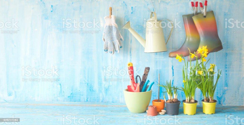 Youspringtime im Garten, Blumen, Gartenbau, Utensilien, Sonnenlicht, gute Textfreiraum – Foto