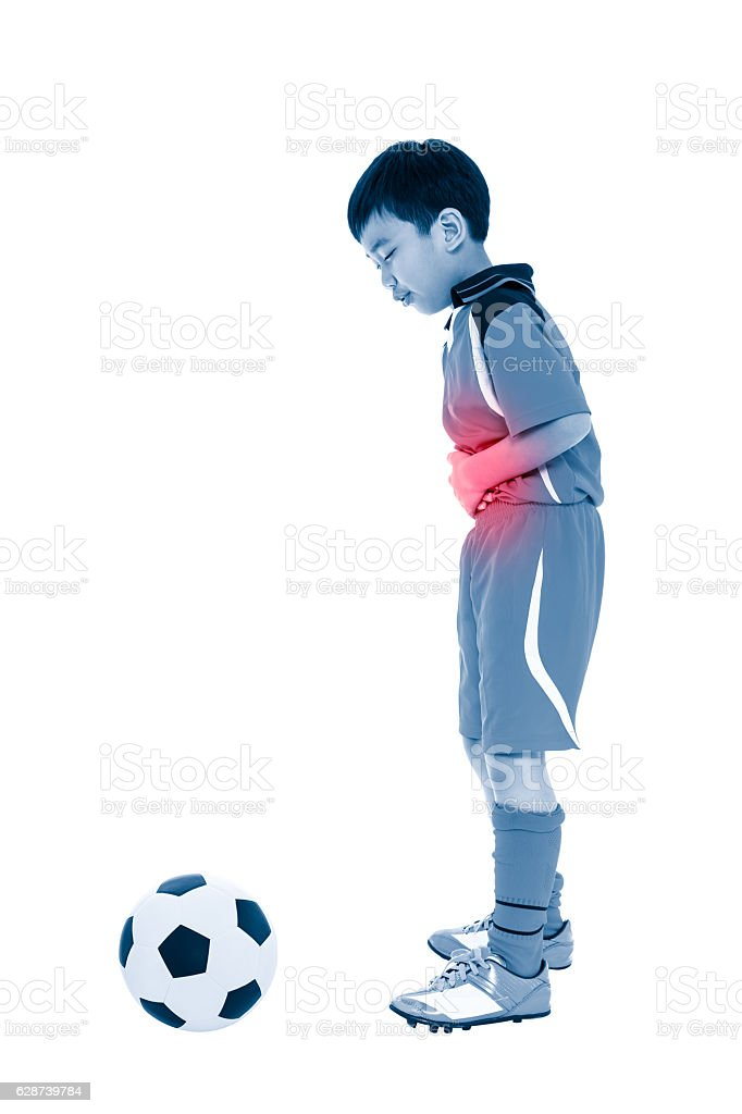 Youth asian soccer player stomachache. Full body. - foto de acervo