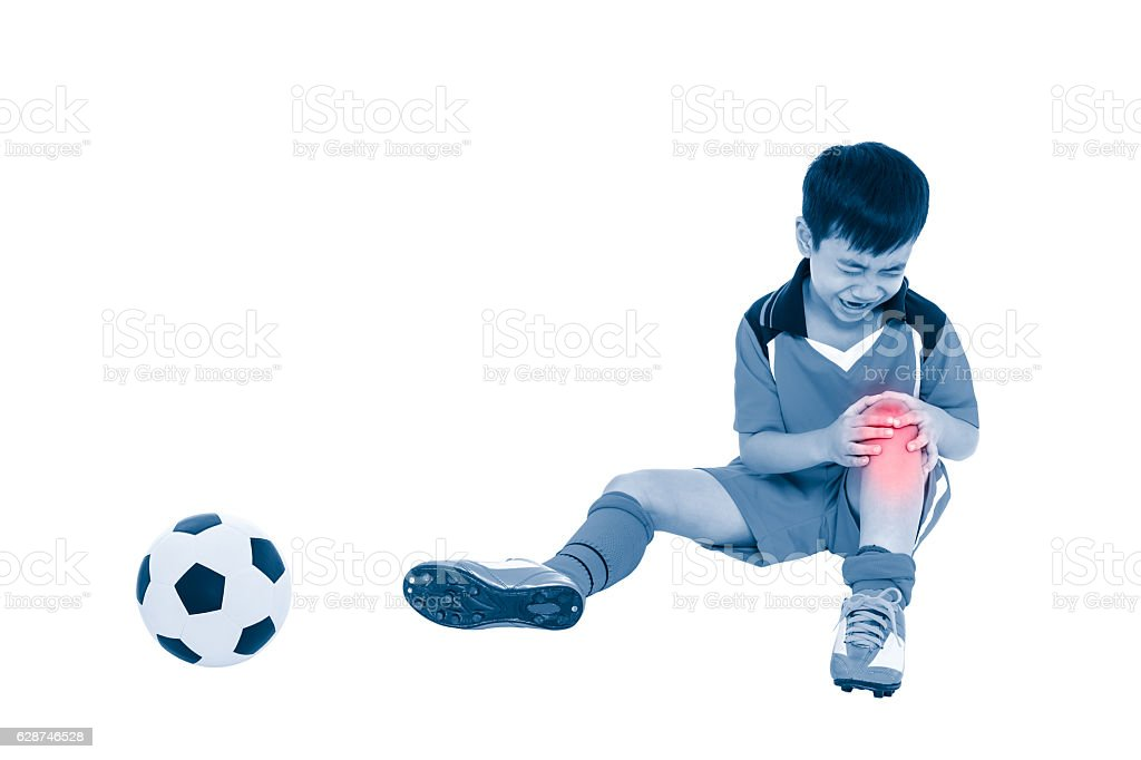 Youth asian soccer player with pain at knee. Full body. - foto de acervo