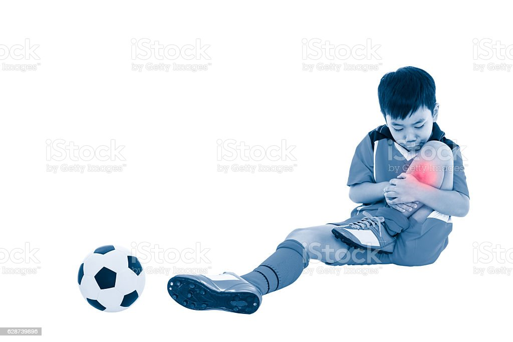 Youth asian soccer player with pain at leg. Full body. - foto de acervo