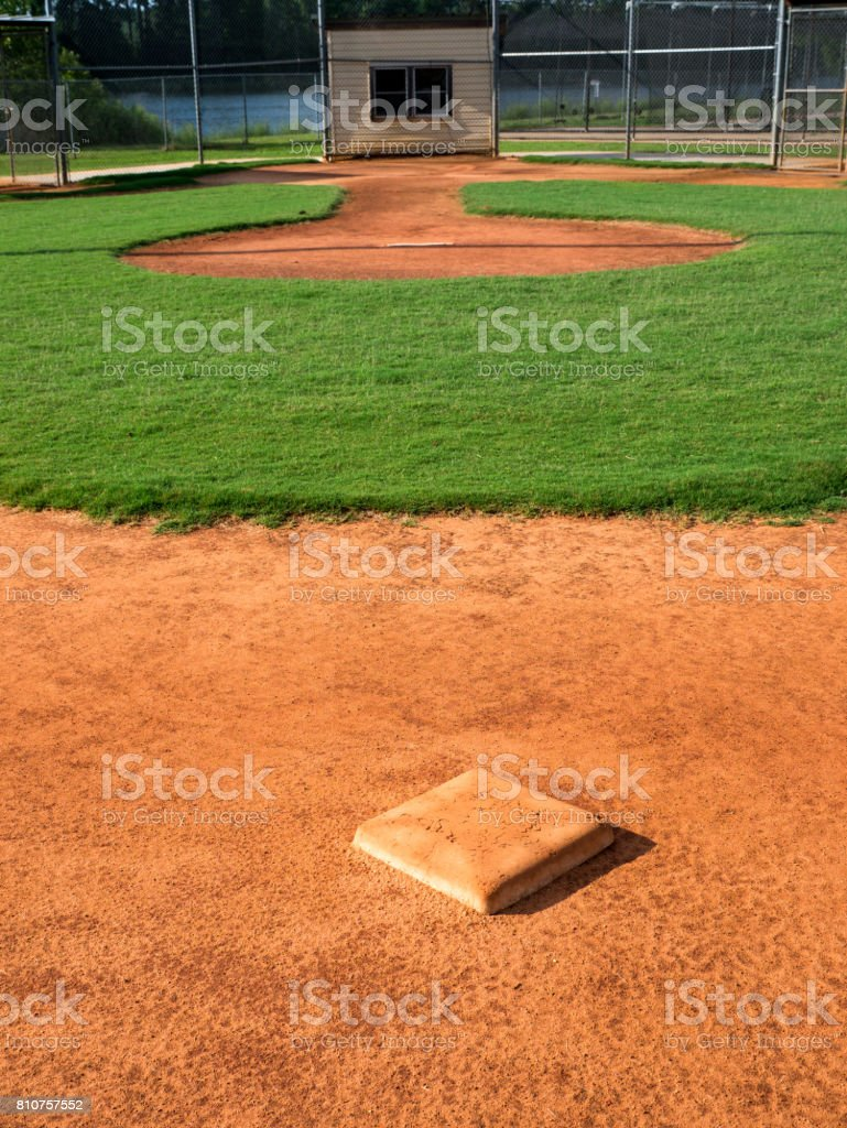 Youth Baseball Field Looking From Behind 2nd Base Toward Home Plate stock photo
