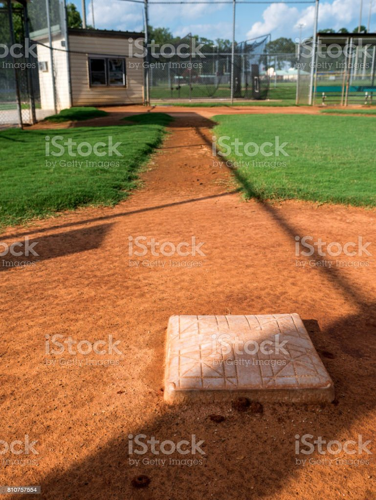 Youth Baseball Field Viewed From Behind First Base stock photo