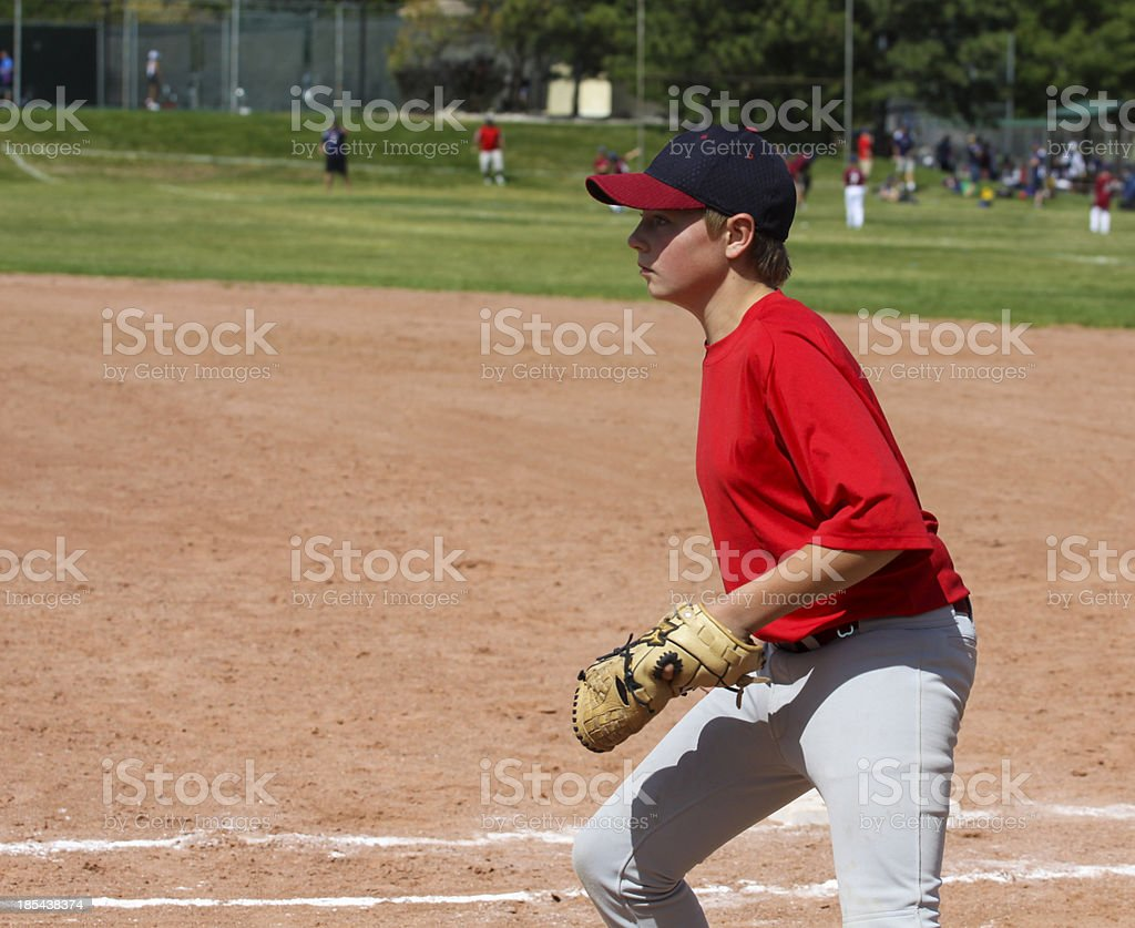 Youth Baseball Player Fielding w clipping mask royalty-free stock photo
