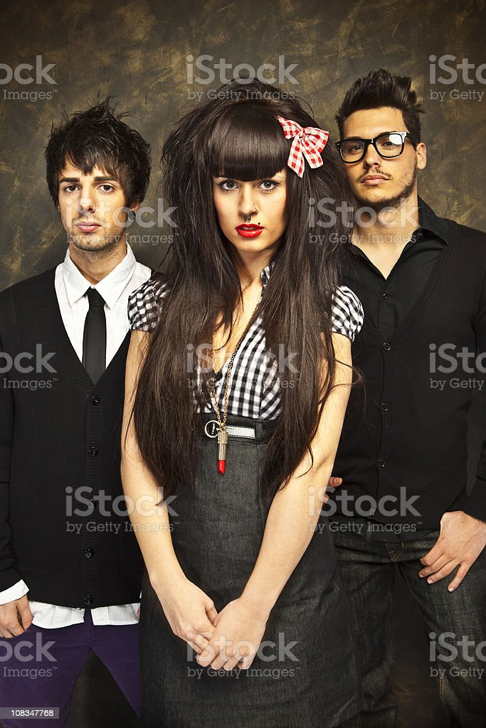 Youth culture: group of stylish friends stock photo