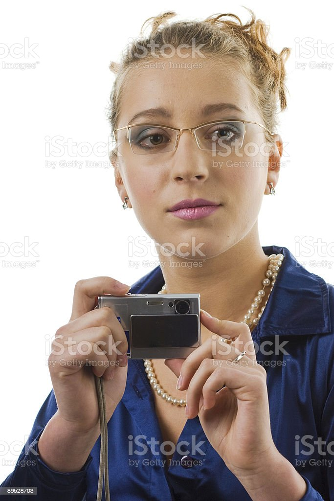 Youth girl with digital camera royalty-free stock photo