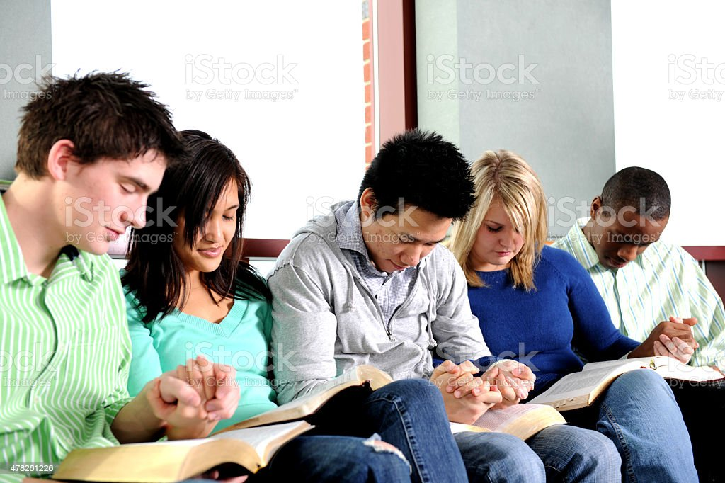 Youth Group Bible Study stock photo
