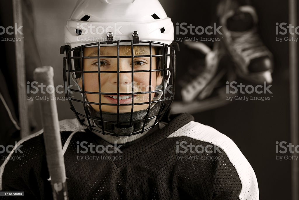 Youth Hockey Player Ready to Play royalty-free stock photo