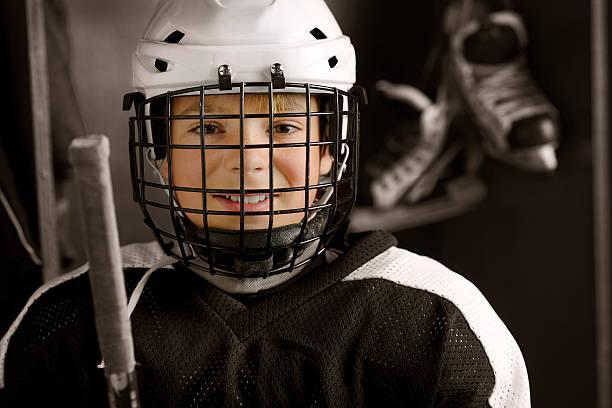 Youth Hockey Player Ready to Play stock photo