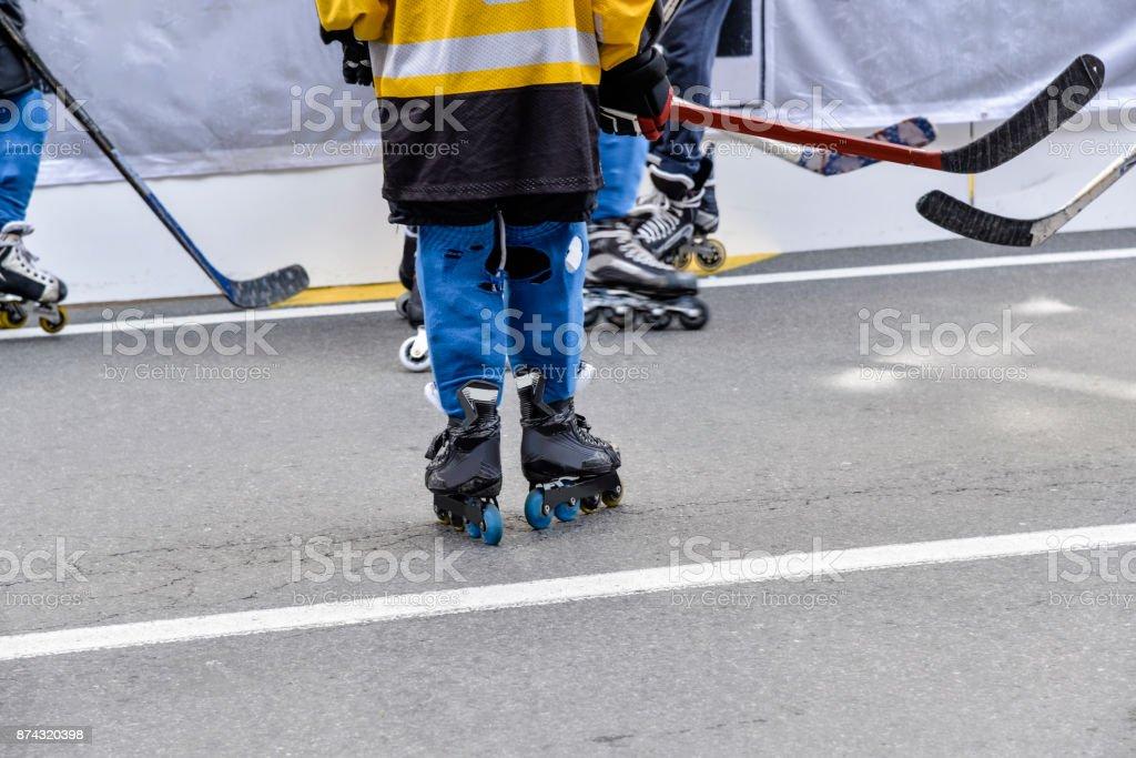 Youth Hockey Street Players stock photo