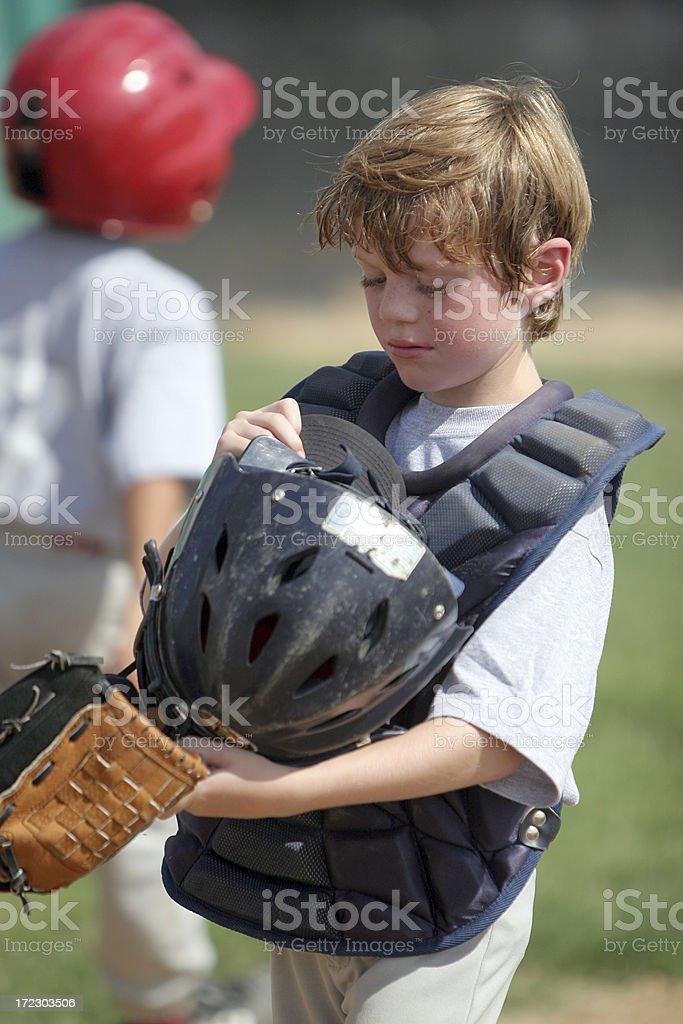 Youth League Baseball Catcher stock photo