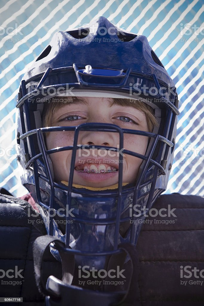 Youth League Baseball Catcher stock photo