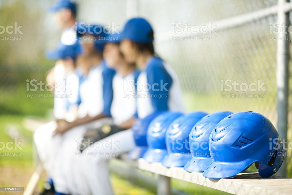Youth League Baseball Helmets stock photo