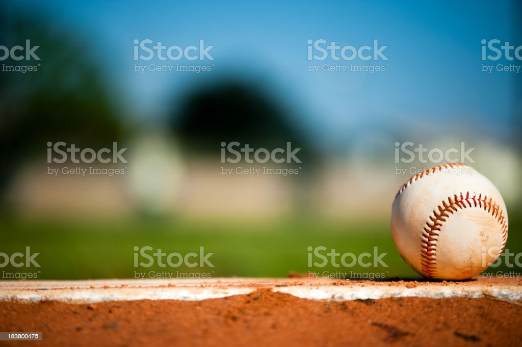 Youth League Baseball on Pitching Mound Close Up stock photo