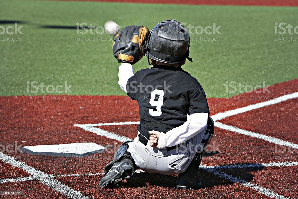 Youth League Catcher stock photo