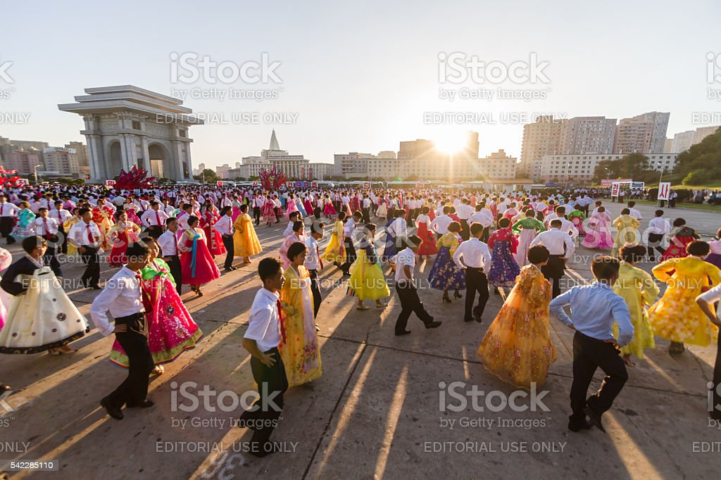 Youth mass dance in central Pyongyang on National Day stock photo
