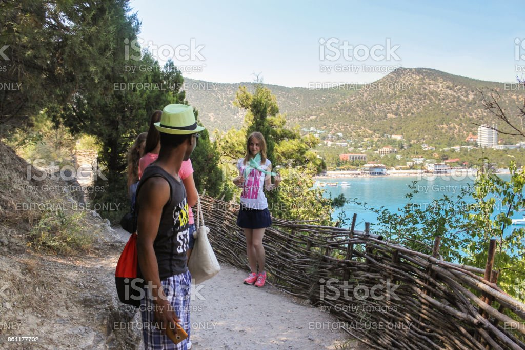 Youth on the trail. royalty-free stock photo