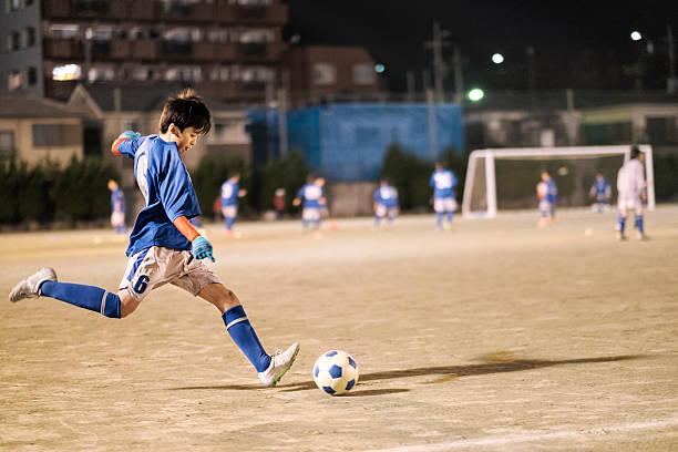 東京の若者、日本のサッカー選手 ストックフォト