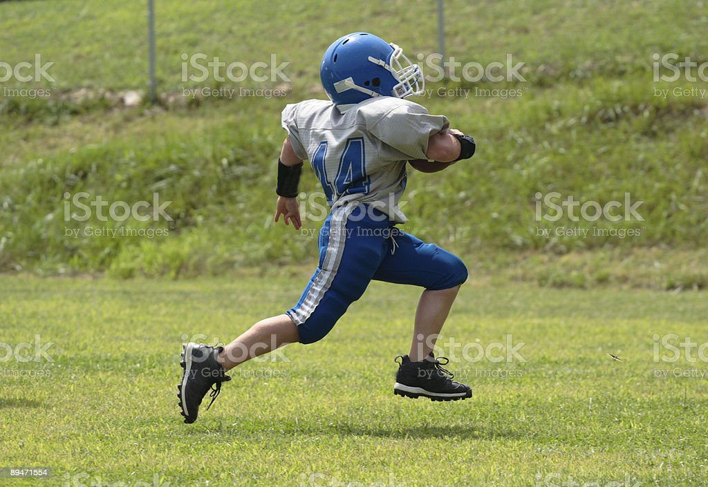 Youth Teen Football Player Touchdown stock photo
