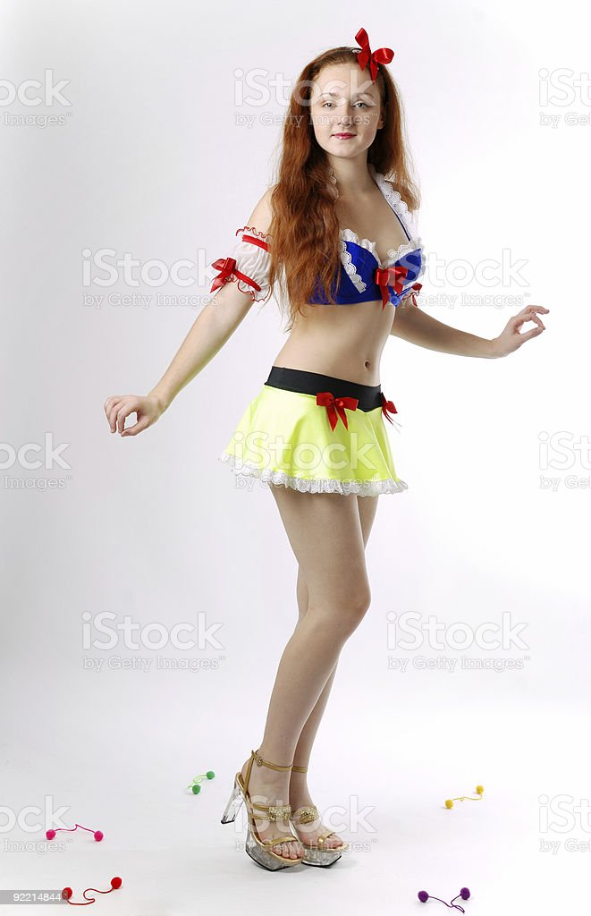 Youth woman in fancy dress of Snow White stock photo