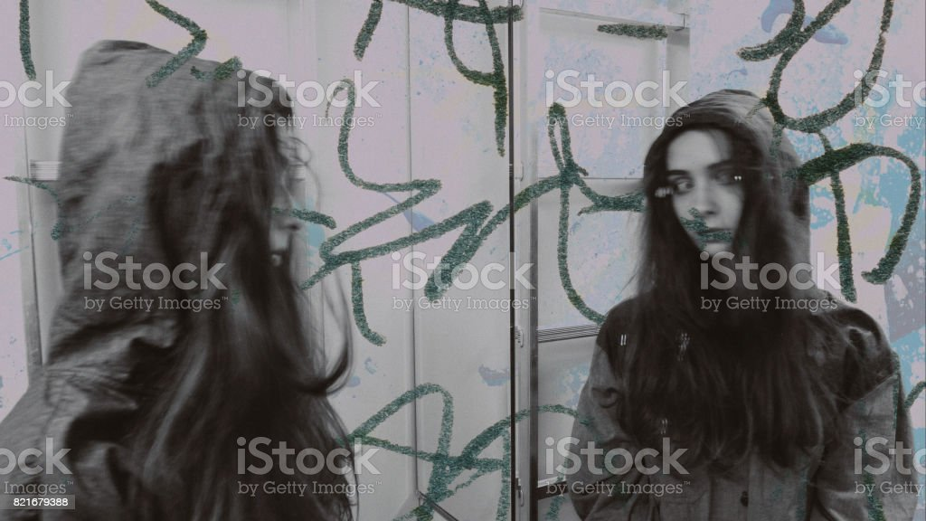 Youthful esoteric psychedelic relaxing person sees hallucinations. Schizophrenia mind disease concept. LSD, marijuana, heroin, extasy feeling abstraction. stock photo