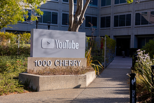 San Bruno California, USA - August  24, 2020: Headquarters YouTube internet video streaming giant  at 901 Cherry Street.