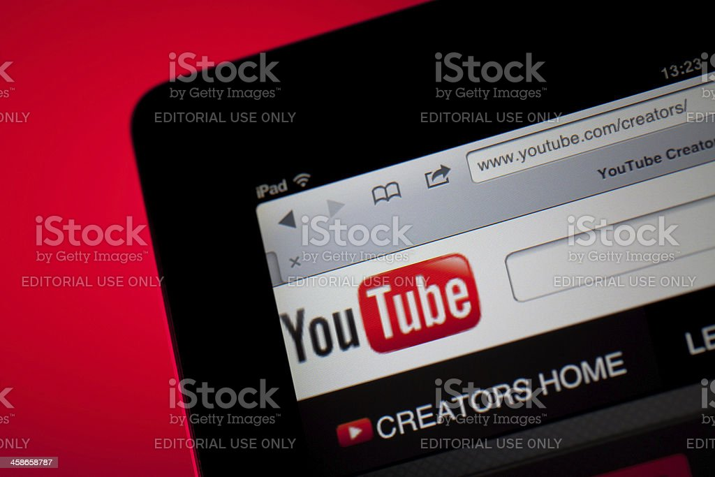 YouTube home screen on iPad stock photo
