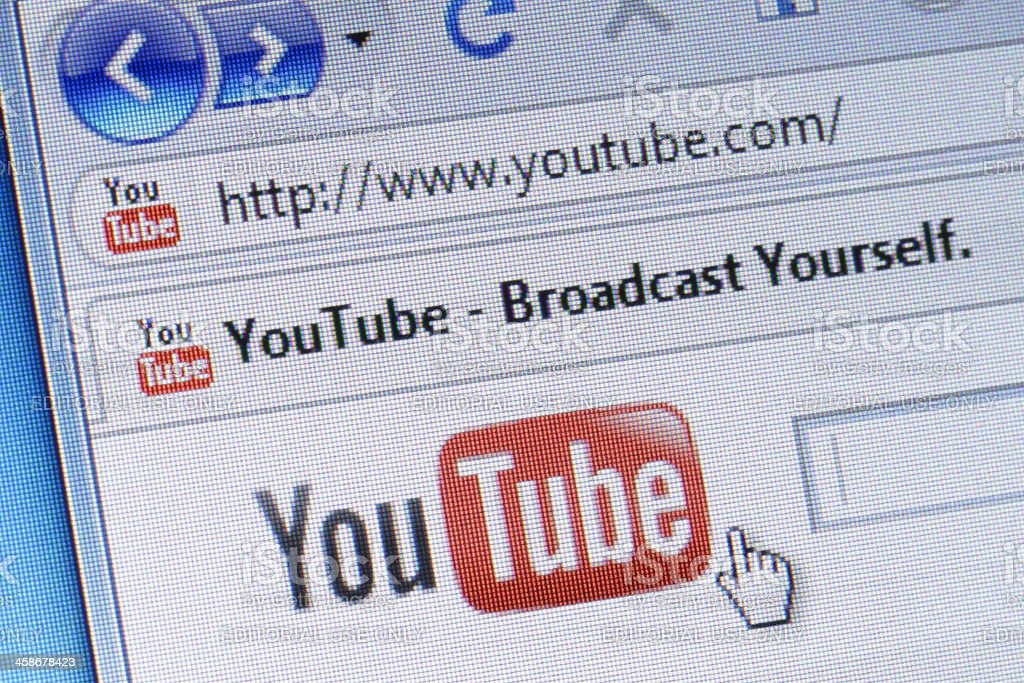 YouTube homepage macro stock photo
