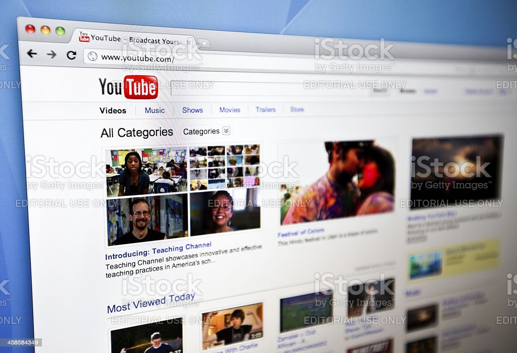 YouTube homepage. stock photo