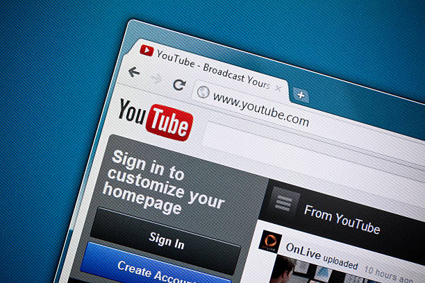 youtube homepage - youtube stockfoto's en -beelden