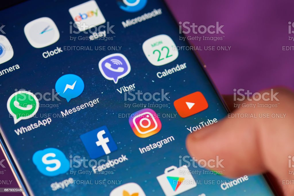 Youtube icon on smartphone screen stock photo