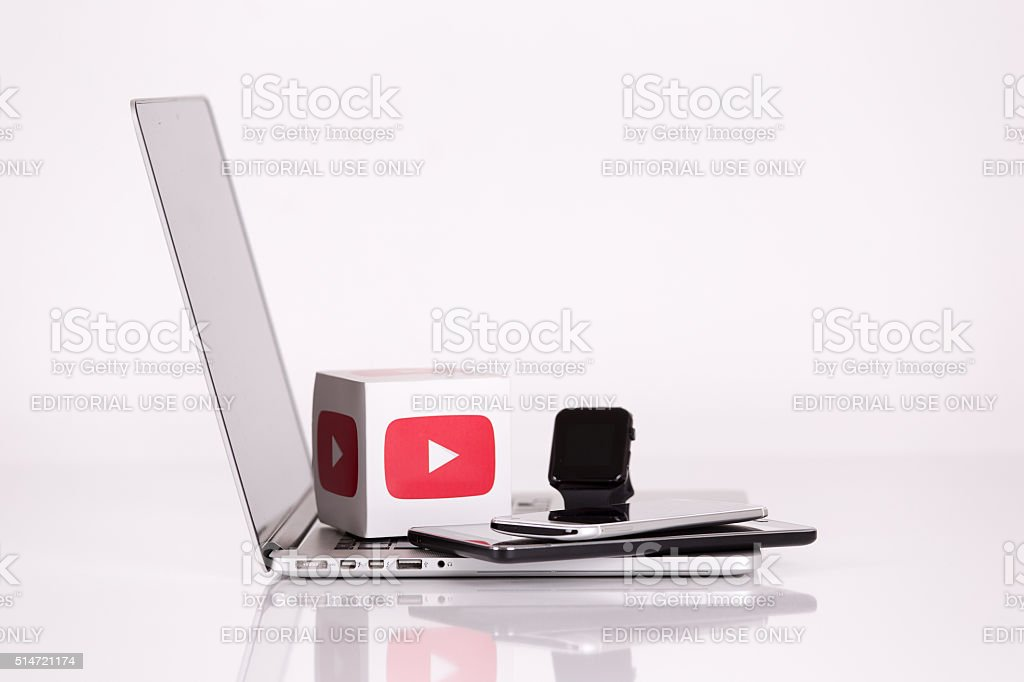 Youtube Logo Cubes with Mobile Devices stock photo