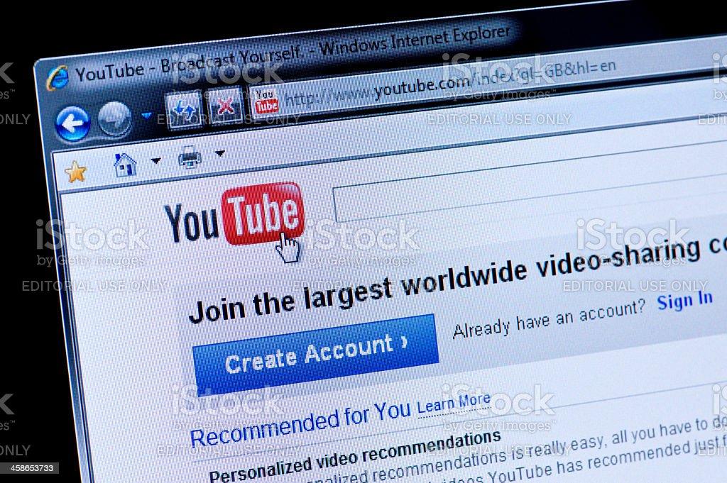 Youtube - Macro shot of real monitor screen royalty-free stock photo