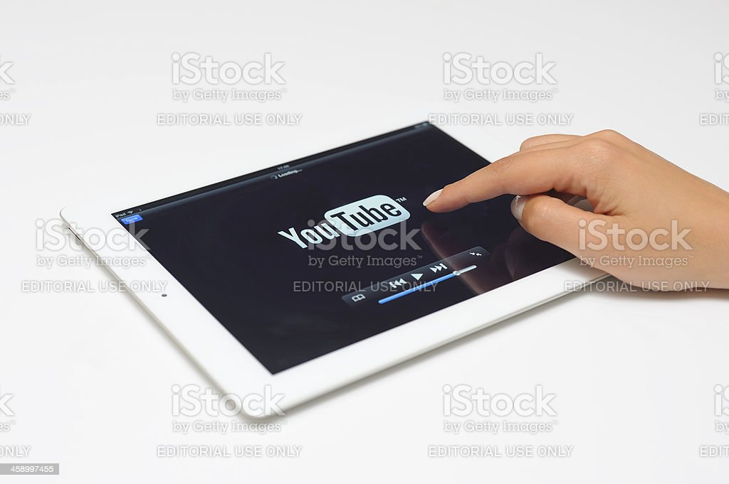 Youtube on the New iPad 3 stock photo