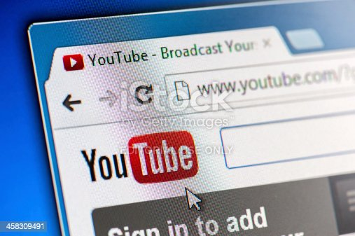 Moscow, Russia - August 25, 2012: YouTube Webpage Close-up on LCD Screen. YouTube is a most visited video-sharing website.
