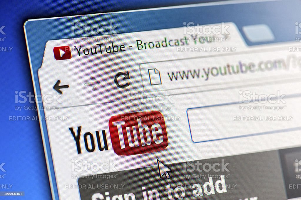 YouTube Webpage Close-up on LCD Screen stock photo