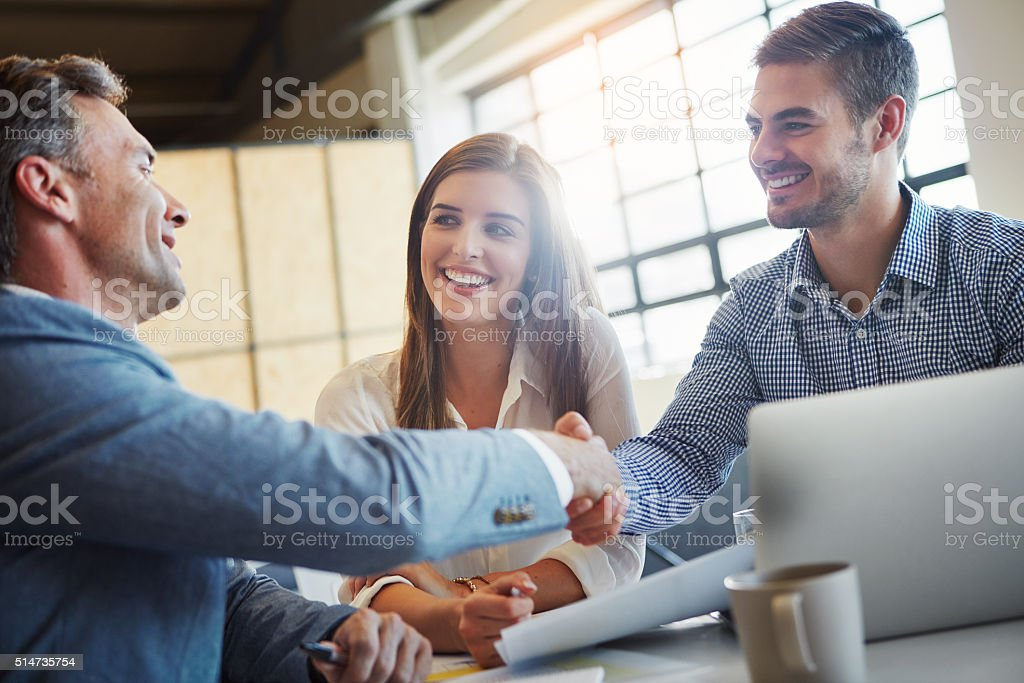 You've got yourself a deal stock photo