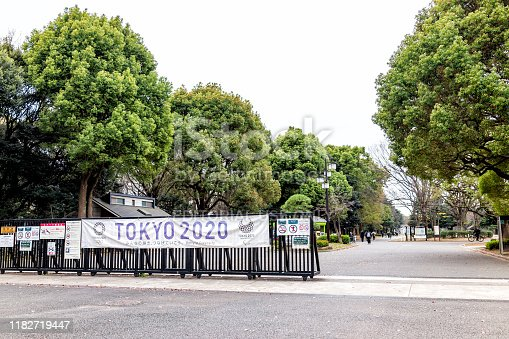 1188904934 istock photo Yoyogi park near Meiji shrine with sign for 2020 olympics banner on fence street road path advertisement 1182719447