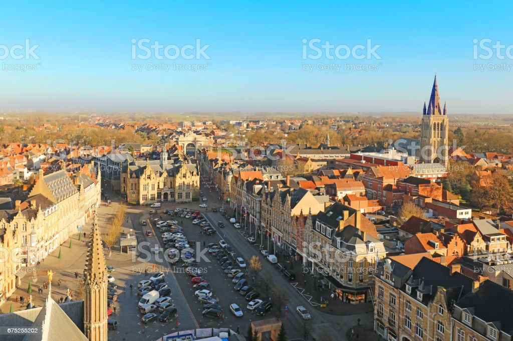 Ypres Town in Belgium Aerial View stock photo