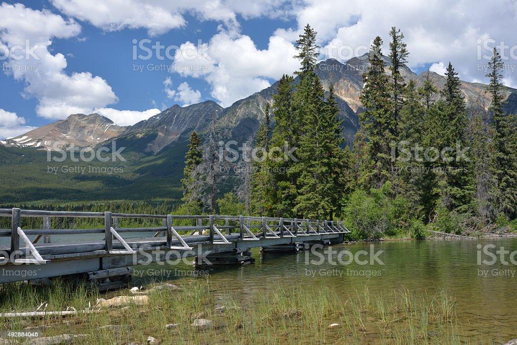 yramid Lake with Wooden Bridge stock photo