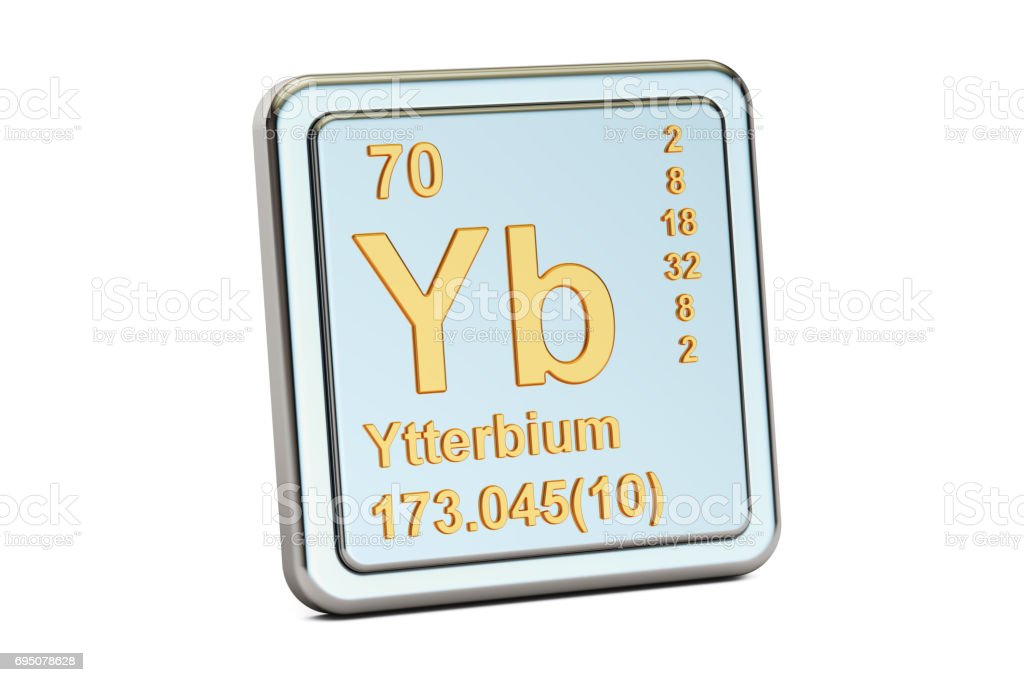 Ytterbium Yb Chemical Element Sign 3d Rendering Isolated On White