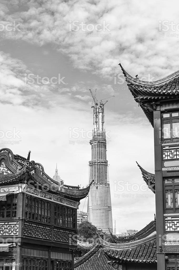 Yu Yuan Garden in Black and White stock photo