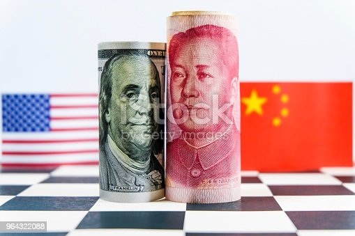 istock Yuan from China and Dollar from United state of America banknote 964322088
