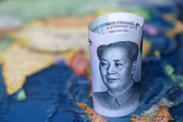 Yuan on the map of SouthEast Asia and Indonesia Concept for chinese and asian economy, tourism, investment and trading mao tse tung stock pictures, royalty-free photos & images